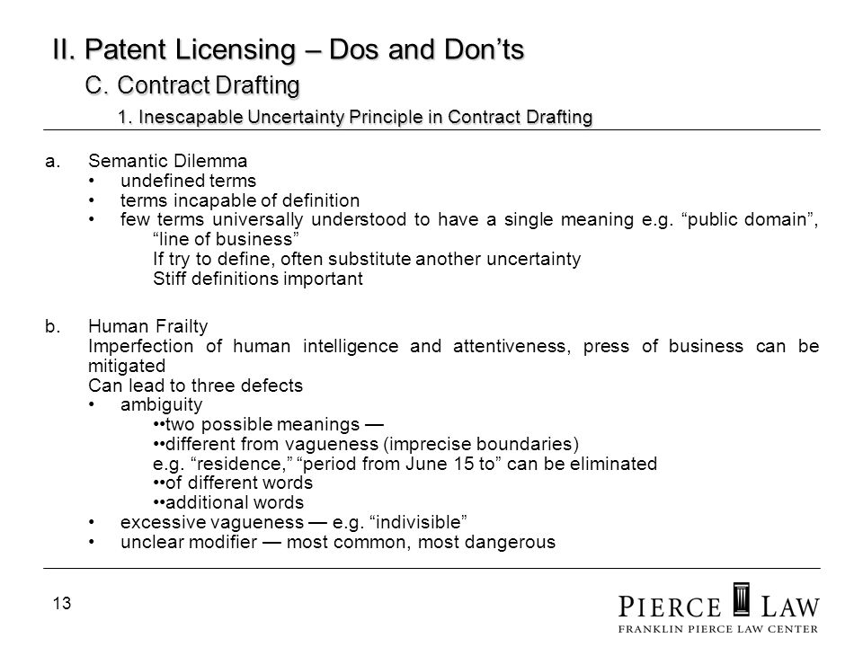 14 II.Patent Licensing – Dos and Donts C. Contract Drafting 2.
