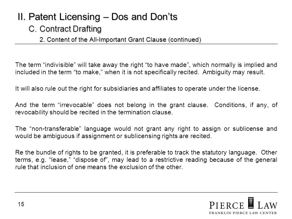 16 II.Patent Licensing – Dos and Donts C. Contract Drafting 2.
