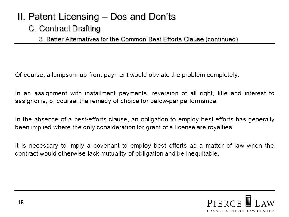 19 II.Patent Licensing – Dos and Donts C. Contract Drafting 3.