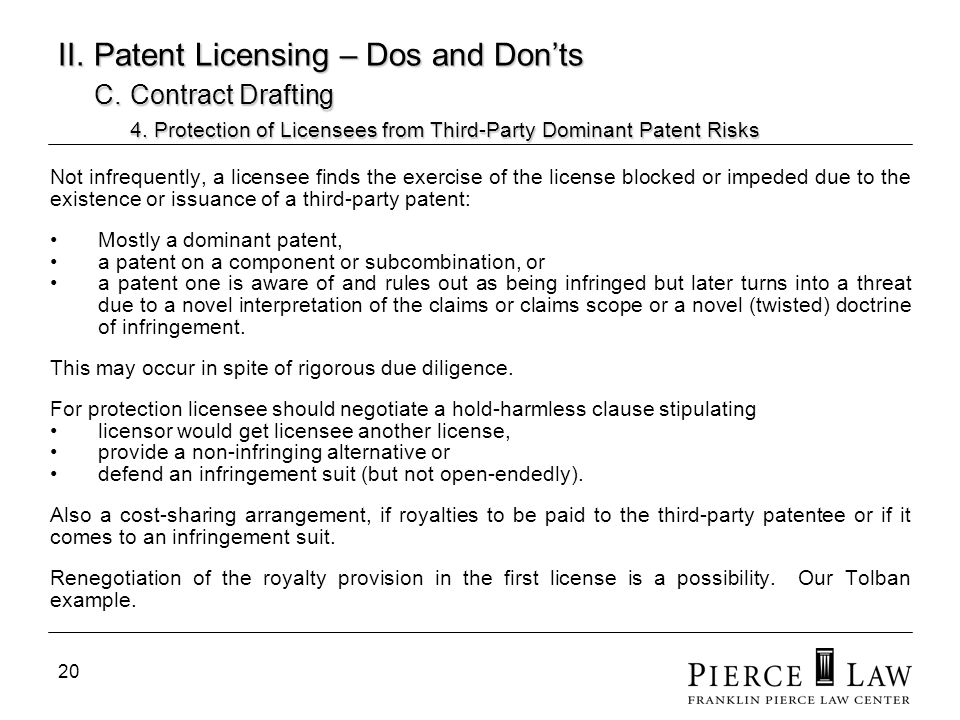 21 II.Patent Licensing – Dos and Donts C. Contract Drafting 4.