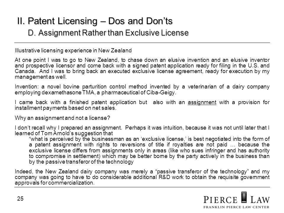 26 II.Patent Licensing – Dos and Donts E.
