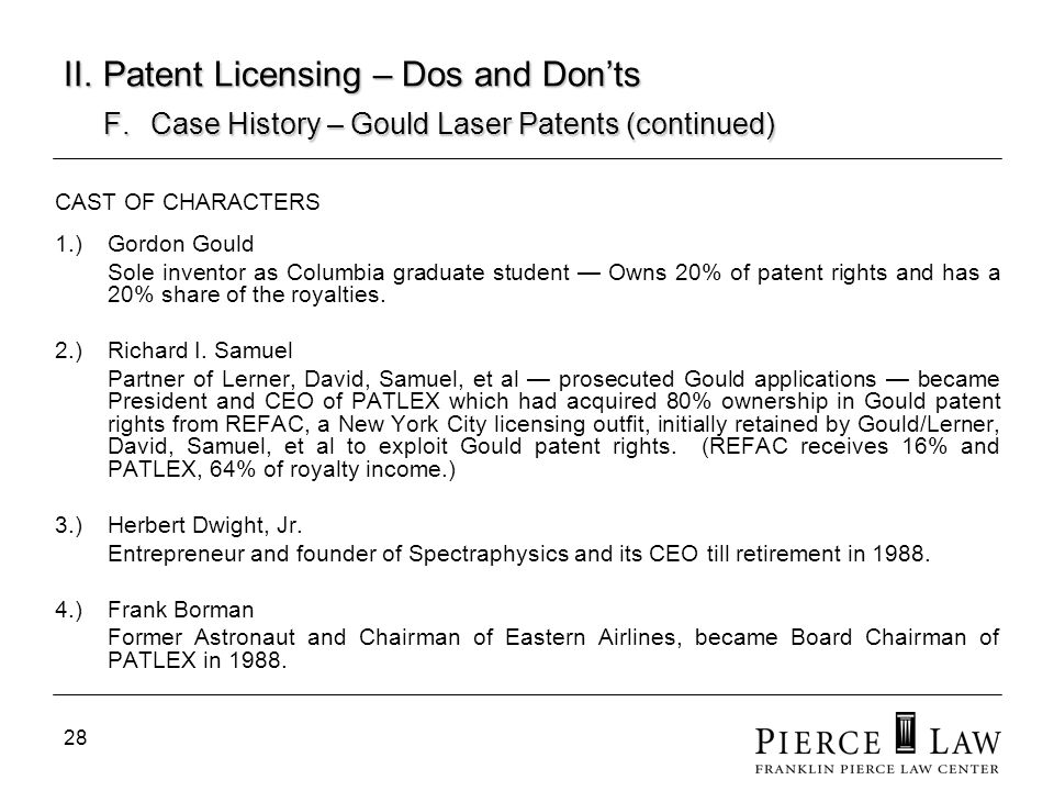 29 II.Patent Licensing – Dos and Donts F.