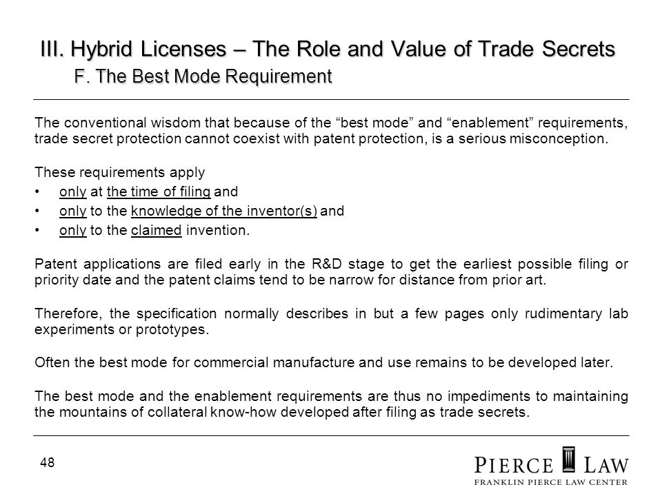 49 III.Hybrid Licenses – The Role and Value of Trade Secrets F.