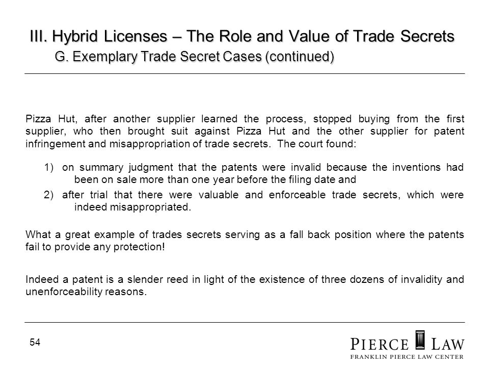 55 III.Hybrid Licenses – The Role and Value of Trade Secrets H.