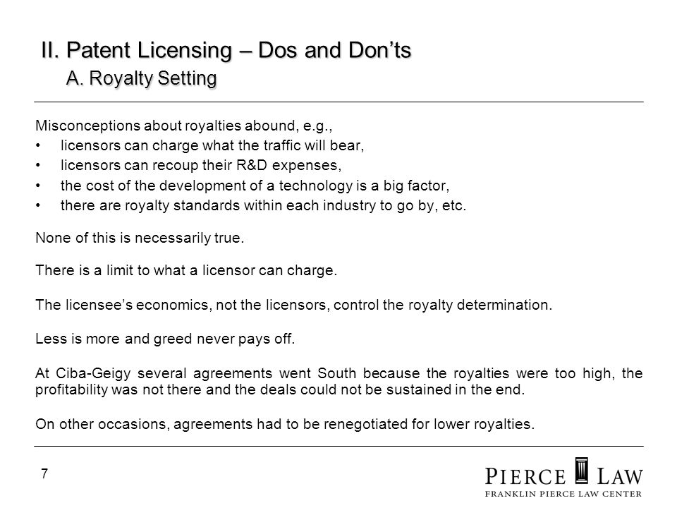8 II.Patent Licensing – Dos and Donts A.