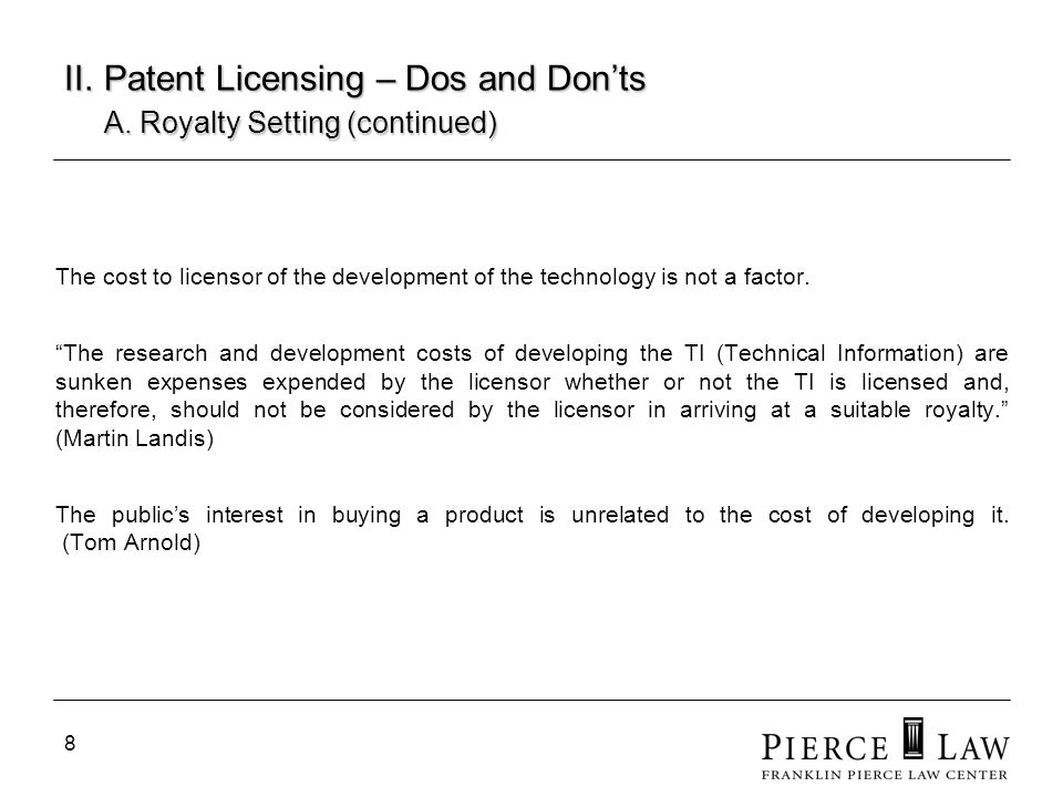 9 II.Patent Licensing – Dos and Donts A.