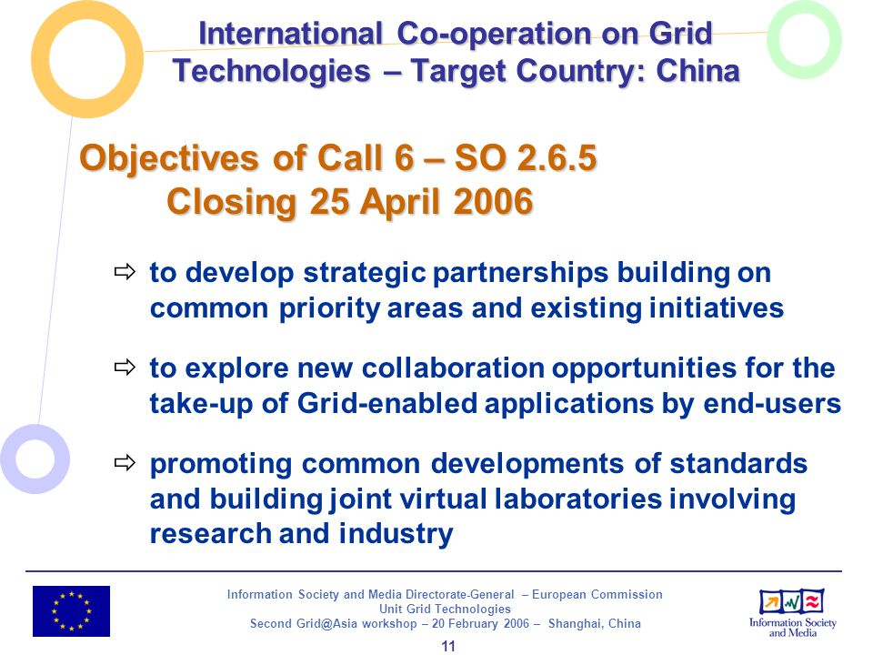 Information Society and Media Directorate-General – European Commission Unit Grid Technologies Second Grid@Asia workshop – 20 February 2006 – Shanghai, China 12 Proposals shall leverage and integrate existing initiatives in the focal areas in Europe and the target country Instruments: STREPs, SSAs, CAs Indicative budget: 5 M Call 6 SO 2.6.5 International Co-operation on Grid Technologies – Target Country: China STREP SSA CA SSA STREP