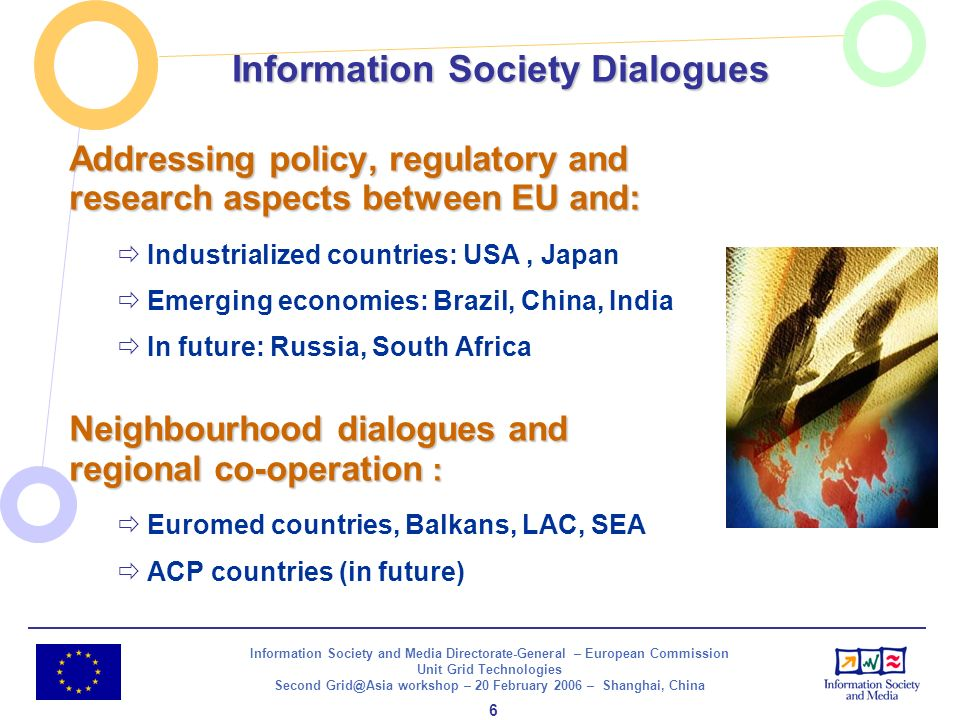 Information Society and Media Directorate-General – European Commission Unit Grid Technologies Second Grid@Asia workshop – 20 February 2006 – Shanghai, China 7 Next Generation Grids End-user empowerment Life-support to business processes Societal behaviour (millions of self-organising nodes) Computational semantics, ontologies, meta-descriptions Pervasive virtual organisations Continuously changing requirements Grid services development environments Virtualization End-User Vision Software Vision Architectural Vision Simplification Abstraction Next Generation Grid(s) - European Grid Research 2005 - 2010, June 2003 Next Generation Grids Report 2003: Vision NGG1