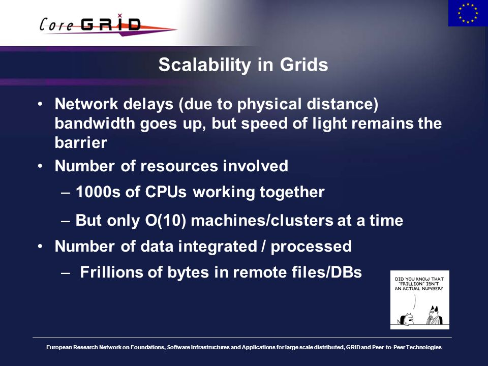 European Research Network on Foundations, Software Infrastructures and Applications for large scale distributed, GRID and Peer-to-Peer Technologies Scalability in Grids (2) The real issues: The application that has worked yesterday won t work today.
