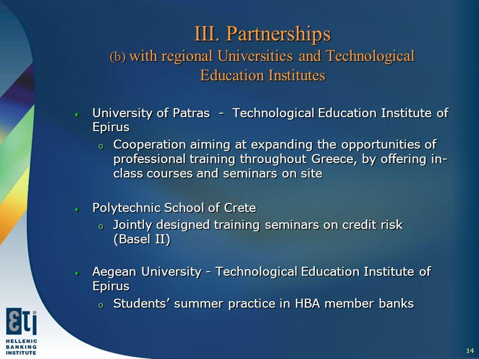 15 ΙΙI.Partnerships (c) with other entities ΙΙI.