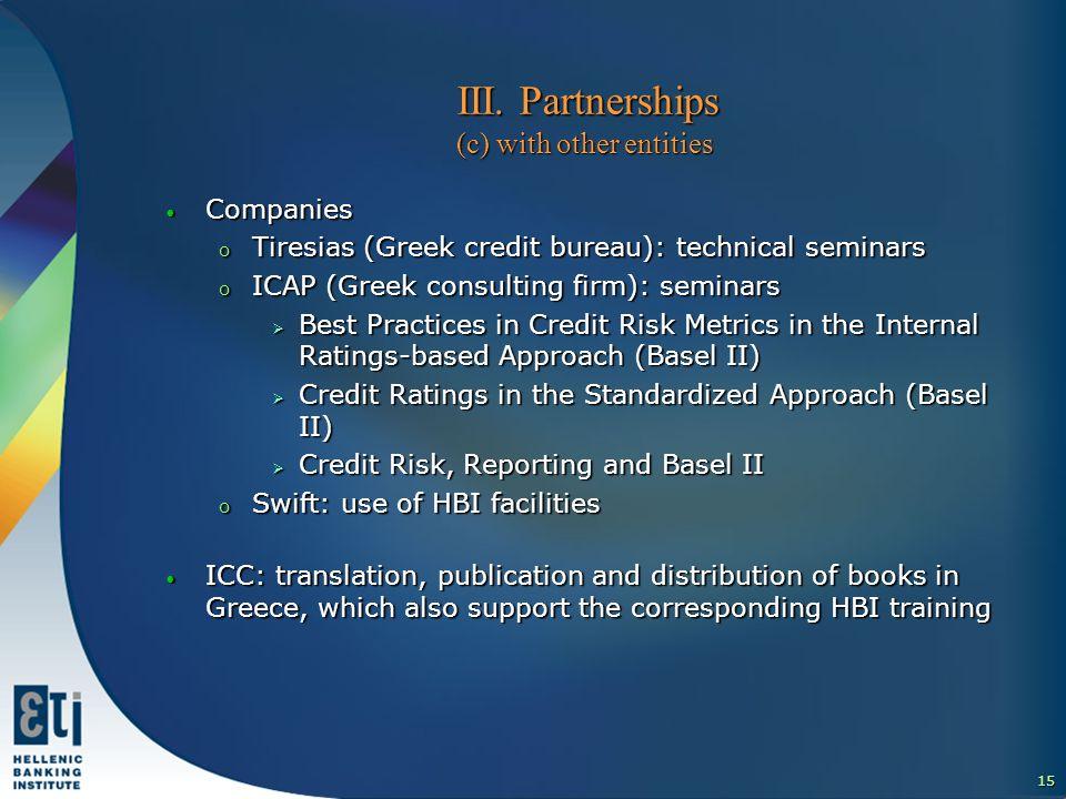 16 ΙΙI.Partnerships (d) with other parties for financial literacy ΙΙI.