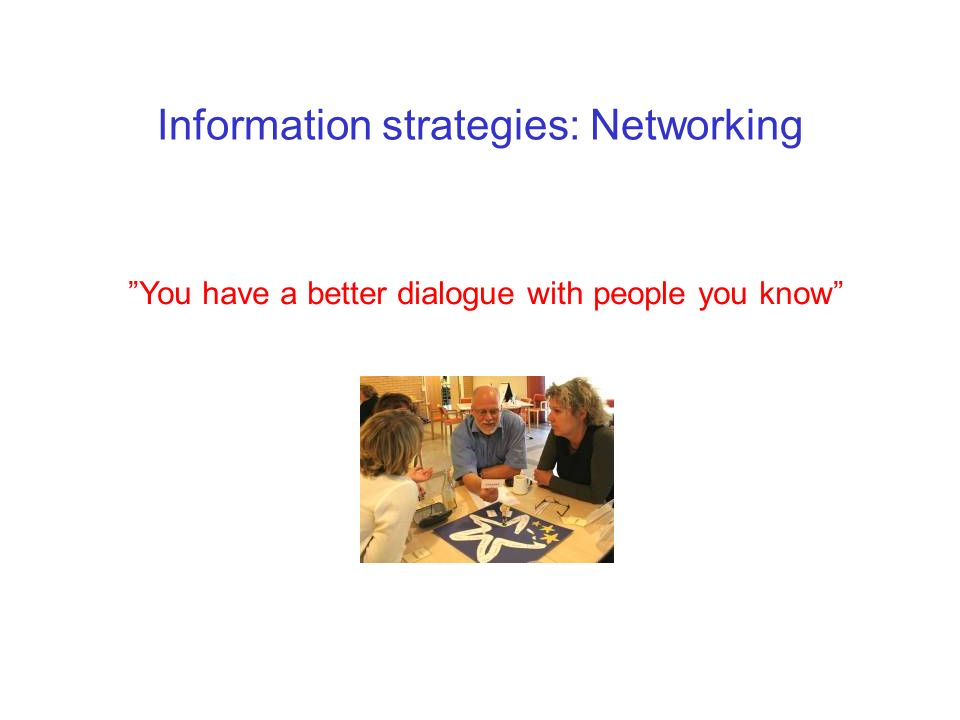 Information strategies: Networking All good networks are: Informal Built on mutual interest Volontary Sharing a joke is a good way to netwok