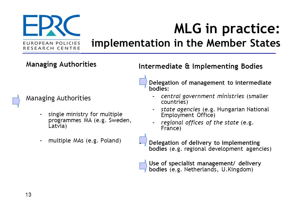 MLG in practice: implementation in the Member States Partnership principle has had several benefits –wider range of organisations engaged in economic development –joined up policymaking better programmes and projects – new public management practices and positive spillovers on domestic policy But….