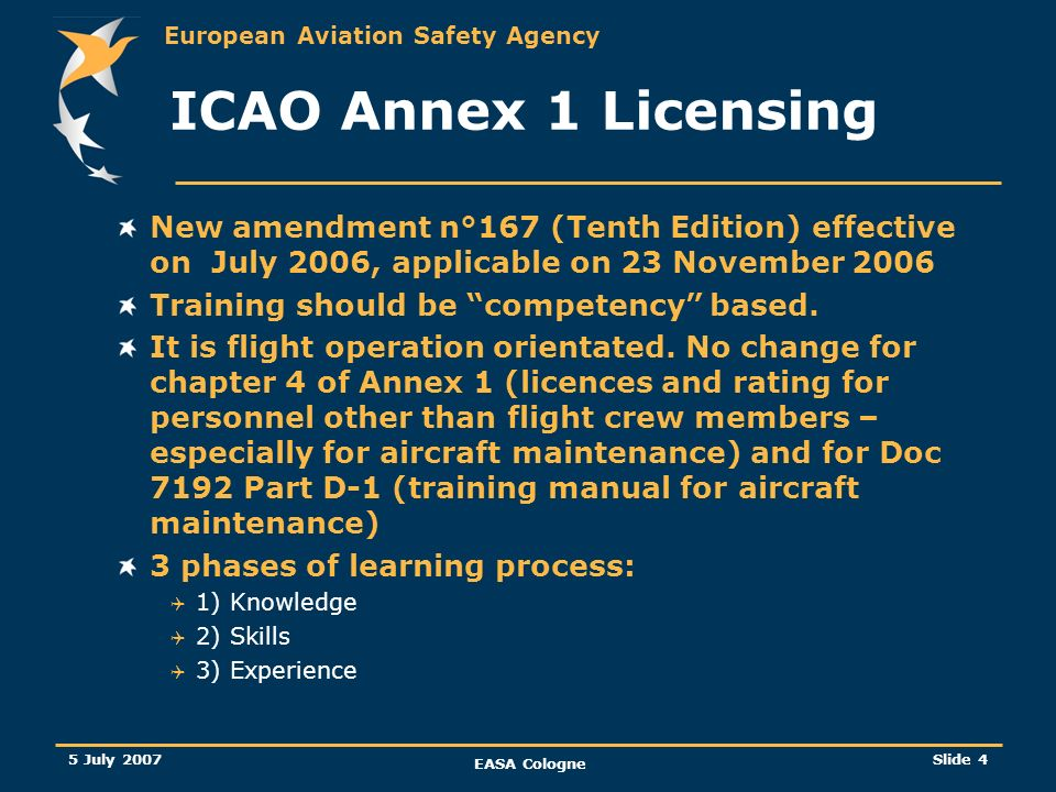 European Aviation Safety Agency 5 July 2007 EASA Cologne Slide 5 ICAO Annex 1 Licensing Creation of Doc 9868 about training (first edition February 2006) and associated to the ICAO annex 1 A methodology about training is given.