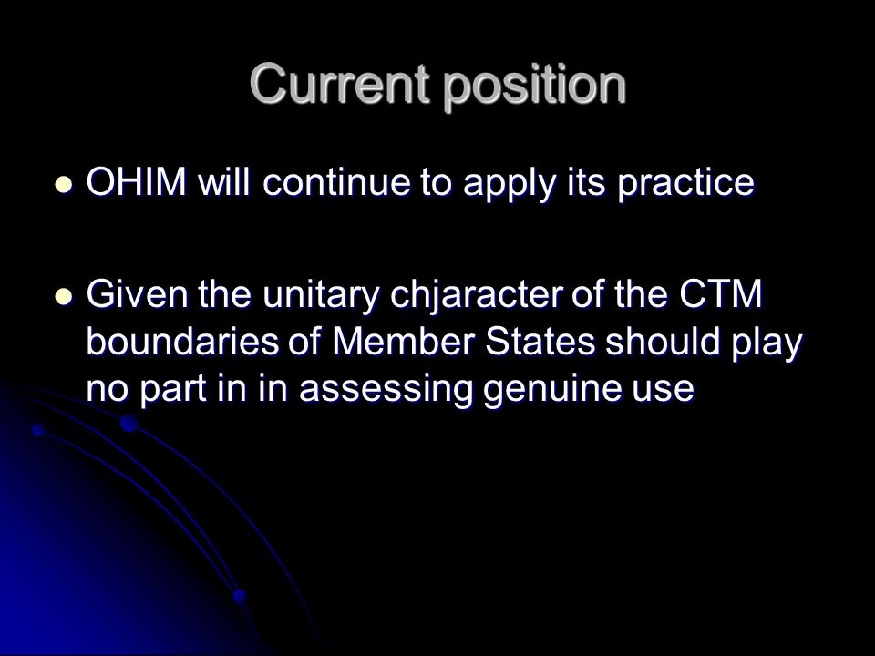 The Future The issue is being considered in the Commission Study The issue is being considered in the Commission Study OHIM has made a submission to the MPI OHIM has made a submission to the MPI http://oami.europa.eu/ows/rw/resource/doc uments/OHIM/OHIMPublications/ohim_co ntribution.pdf http://oami.europa.eu/ows/rw/resource/doc uments/OHIM/OHIMPublications/ohim_co ntribution.pdf
