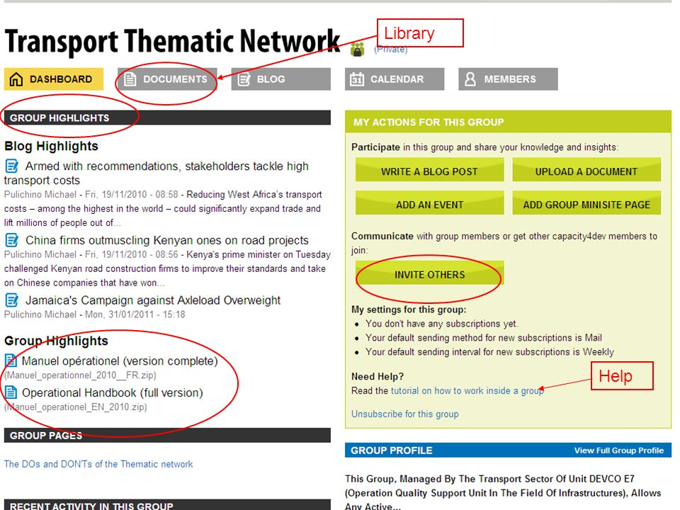 EuropeAid The Transport Thematic Network 3/6 All documents available on Circa have been reviewed, selected, classified and uploaded in the Cap4Dev library (categories and tags system) The blog is used to publish interesting articles from other sources and to start discussions, consultations… Upcoming events are published in the calendar.