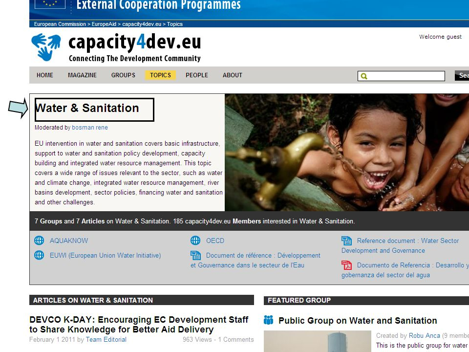 Capacity4Dev : Water sector Key information IS in Delegation /countries HQ can contribute with reference documents, information from other donors per default all E.C.