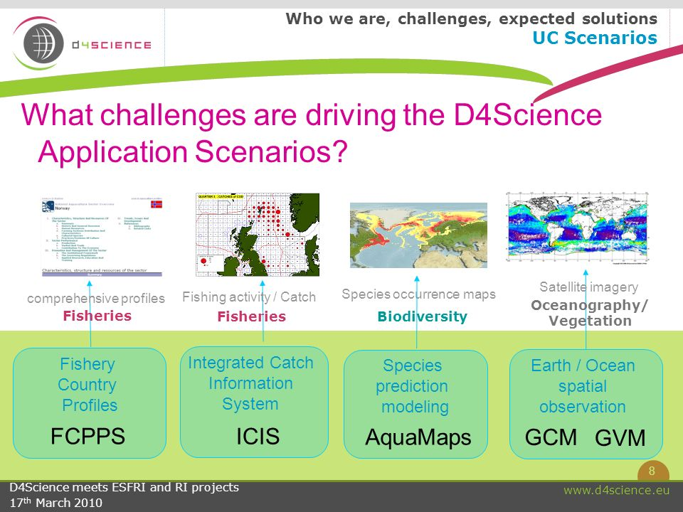 9 www.d4science.eu D4Science meets ESFRI and RI projects 17 th March 2010 Synergies among communities : integration of user scenarios and cross-fertilization Who we are, challenges, expected solutions Synergies among communities