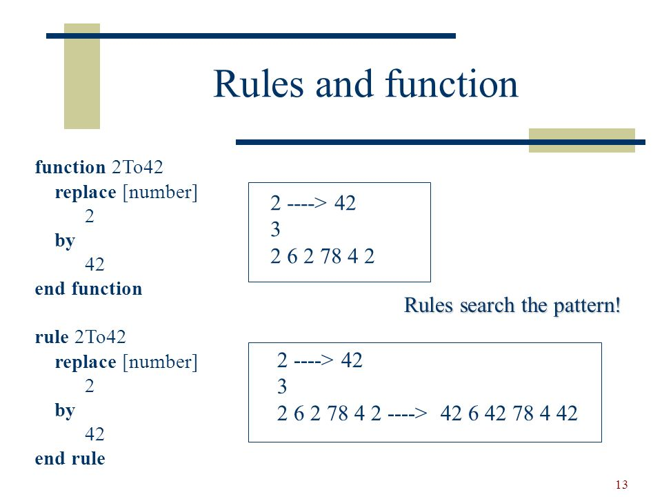 14 Searching functions function 2To42 replace * [number] 2 by 42 end function Note: change only * 2 ----> 42 3 2 6 2 78 4 2 ----> 42 6 2 78 4 2
