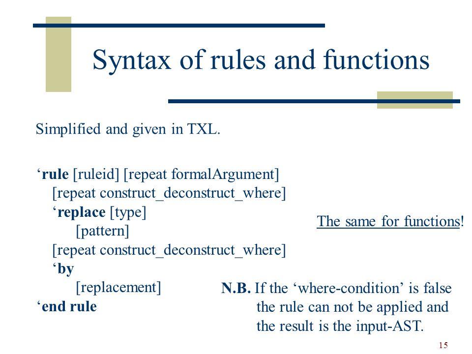 16 Built-in functions rule resolveAdd replace [expr] N1 [number] + N2 [number] by N1 [add N2] end rule function add … end function rule resolveAdd replace [expr] N1 [number] + N2 [number] by N1 [+ N2] end rule … are equivalent!