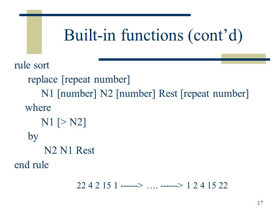 18 Recursive functions function fact replace [number] n [number] construct nMinusOne [number] n [- 1] where n [> 1] construct factMinusOne [number] nMinusOne [fact] by n [* factMinusOne] end function