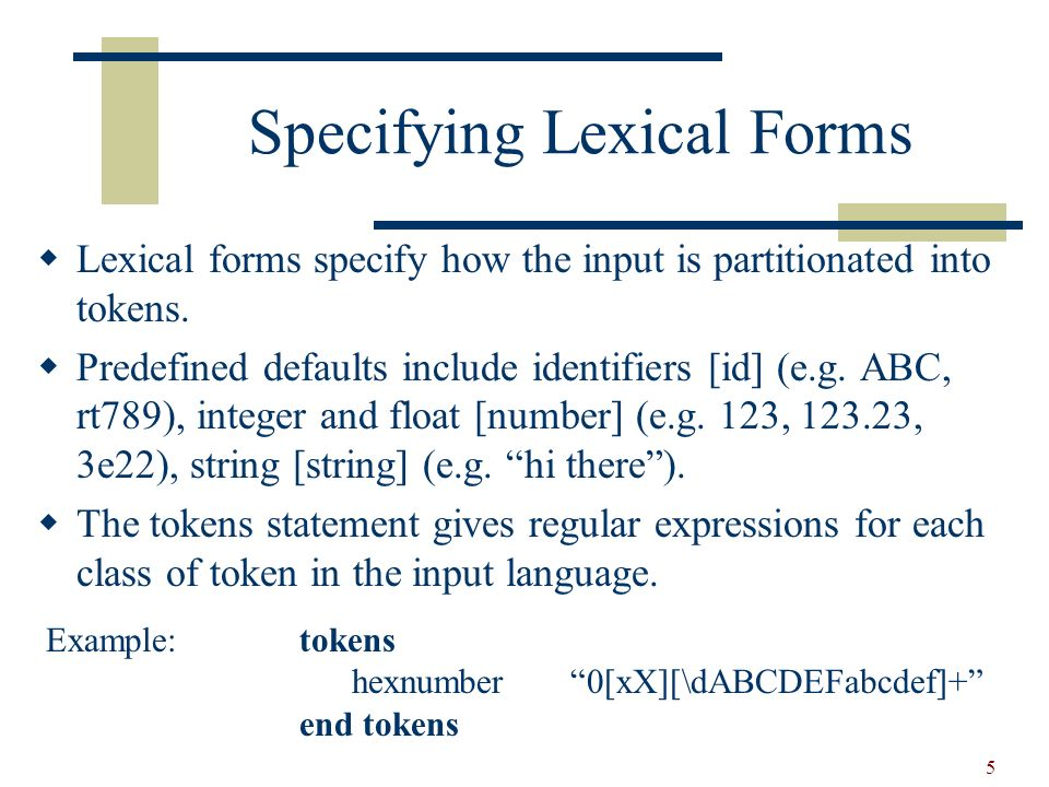 6 Specifying lexical Forms (contd) Any single char (not [, ]) not preceded by a \ or # simply represents itself.