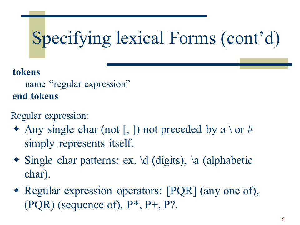 7 Specifying lexical Forms (contd) The keys specifies that certain identifiers are to be treated as unique special symbols.