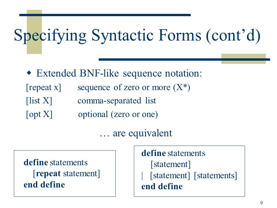 10 Specifying Syntactic Forms (contd) define formalParameters ([list formalParameter+]) | [empty] end define define formalParameter [id] : [type] end define define type int | bool end define key procedure begin end int bool end key define proc procedure [id] [forrmalParameters] begin [body] end end define
