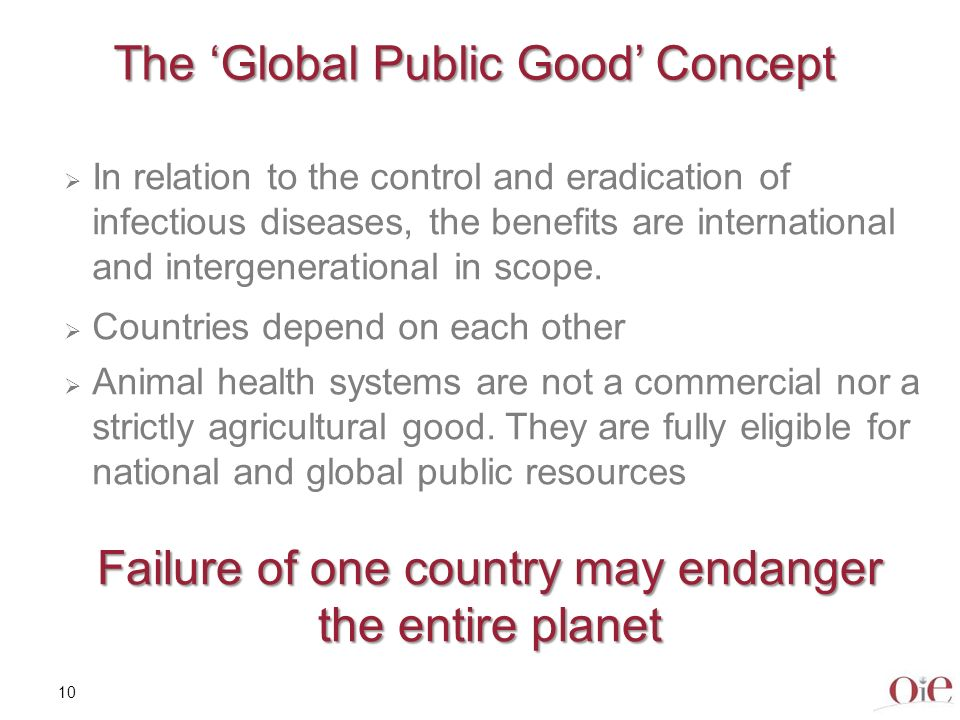 11 Good Governance – for all countries Need for appropriate legislation and its efficient implementation through appropriate human and financial resources allowing national animal health systems to provide for: Appropriate surveillance, early detection, transparency Rapid response to animal disease outbreaks Biosecurity measures Compensation Vaccination when appropriate Deregulation and lack of resources for veterinary services can be a source of biological disasters