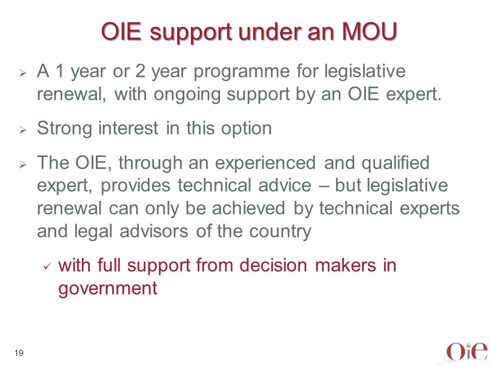 Veterinary Legislation Identification Mission State of play – 01/12/2010 OIE Regions OIE Members Legislation Requests received Legislation Missions done Africa 52168 Americas 2922 Asia & Pacific 3133 Europe 5331 Middle East 1243 Total1772817 20