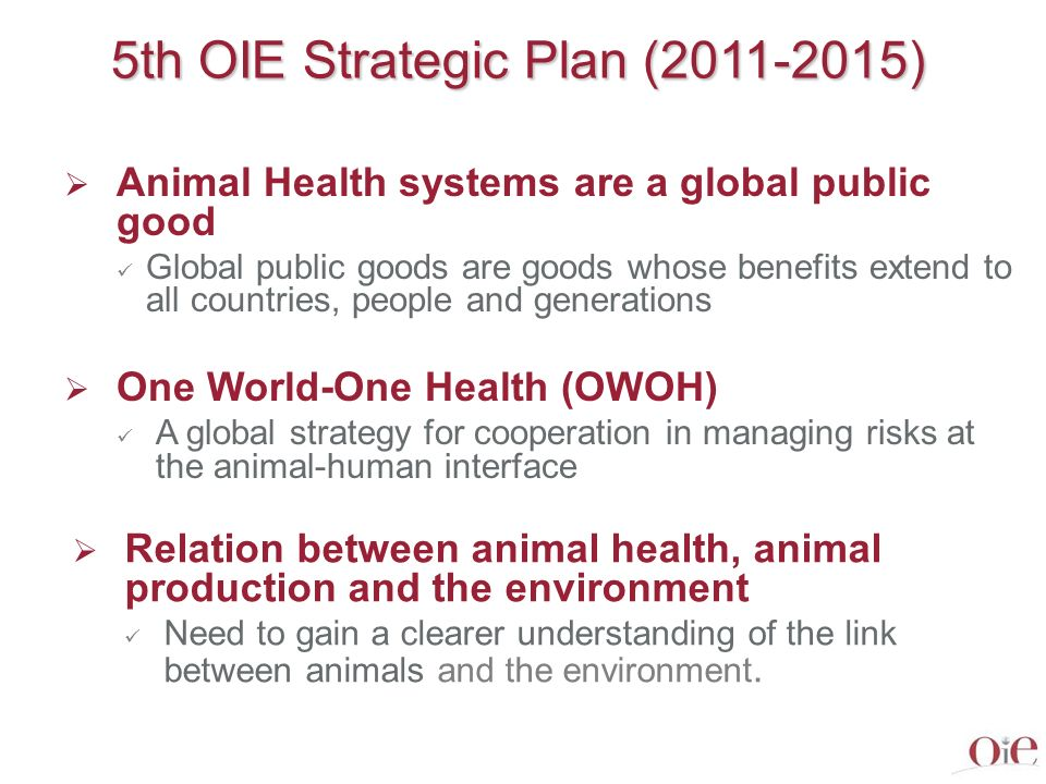 5th Strategic Plan: Key concepts Food Security & Food Safety Need for a global supply of safe food Food security, including animal protein, is a key public health concern Healthy animals ensure food security and food safety Veterinary Services play a key role in protecting society Animal welfare: a OIE strategic engagement Animal health is a key component of animal welfare OIE is recognised globally as the leader in setting international animal welfare standards