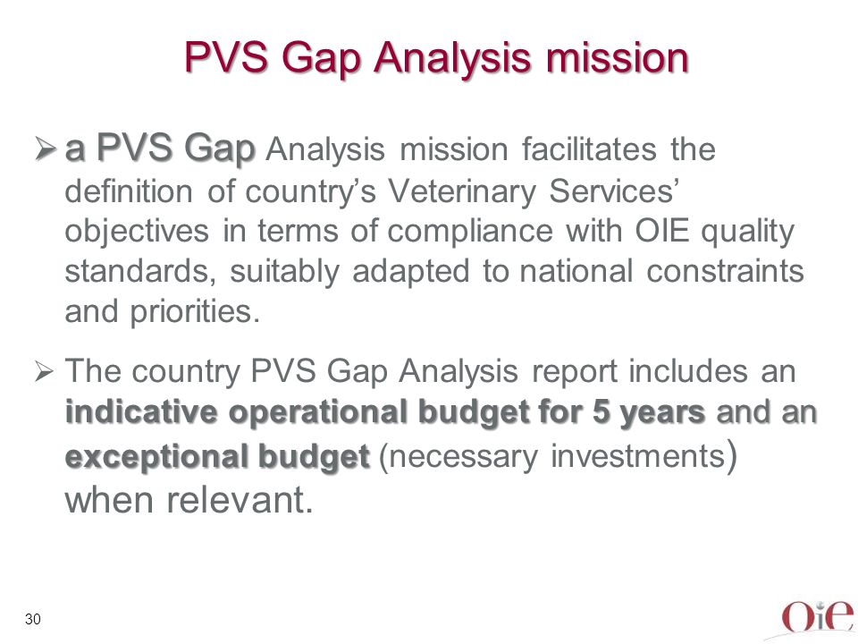 31 Using the PVS Gap Analysis How and what to finance is a sovereign decision of the country The Countrys Government decides if this is kept for internal use or distributed if necessary to Donors and relevant International Organisations to prepare investment programmes