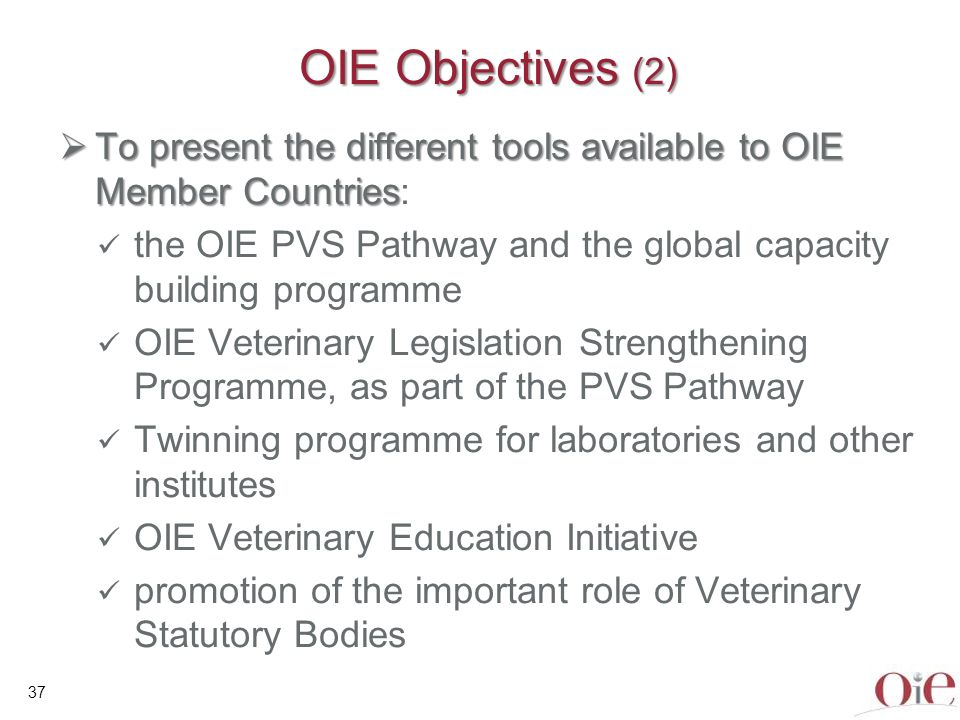 38 OIE Objectives (3) To continue advocating on behalf of VS, including interactions with OIE Donors and Partners To argue for significant investment in VS because they are a Global public good To provide compelling messages for presentation to decision-makers To provide the tools to help VS to take steps to strengthen the national legislation and thereby improve the efficiency of national VS To raise awareness of the key importance of quality veterinary education for efficient VS