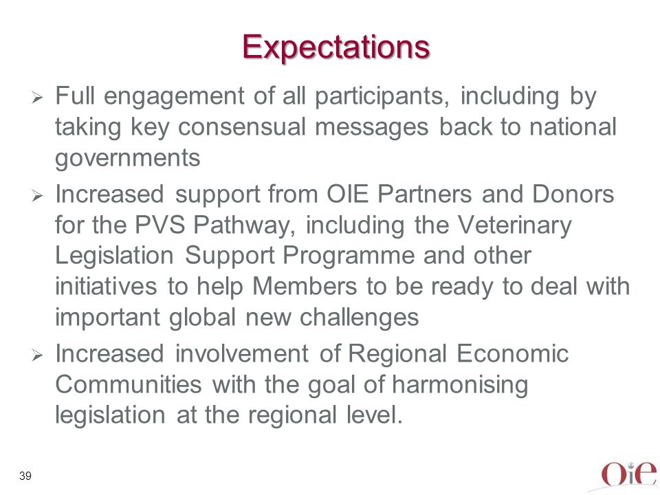 40 Expectations Increased involvement of Veterinary Statutory Bodies in the regulation of the profession, including closer collaboration with the VS Renewed emphasis on the importance of initial and continuing veterinary education as a key component of efficient Veterinary Services Closer collaboration between VS and Ministries responsible for human health, wildlife and the environment Global endorsement of the OIE approach to global capacity building and twinning programmes.
