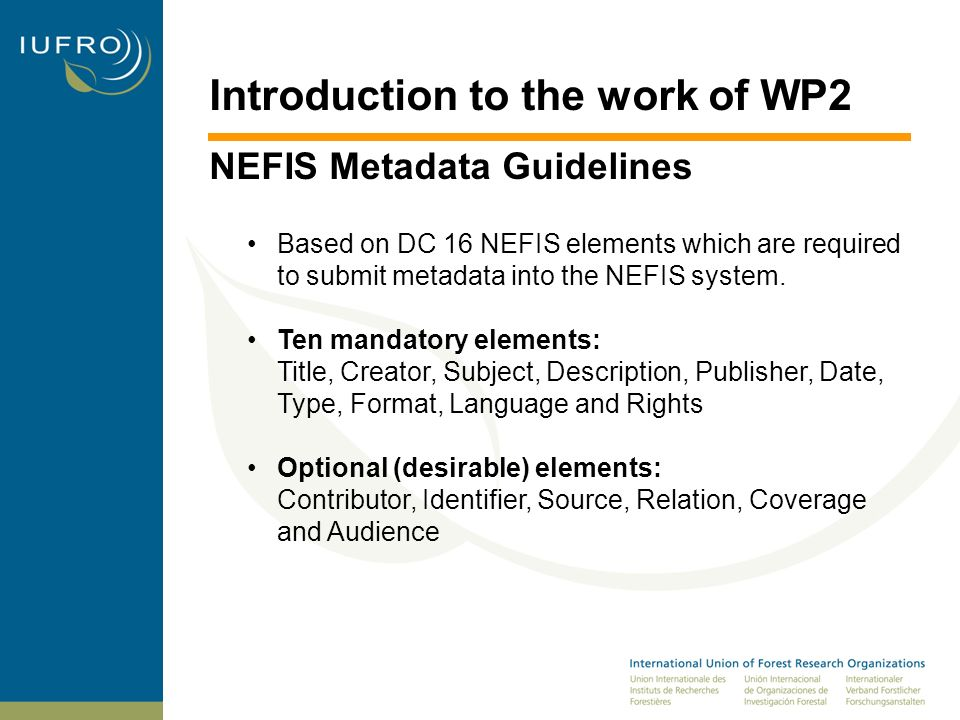 Introduction to the work of WP2 NEFIS Metadata Guidelines Each NEFIS element is by its full name and label For each element there are guidelines to assist in creating metadata content, whether it is done from scratch or by converting an existing record in another format.