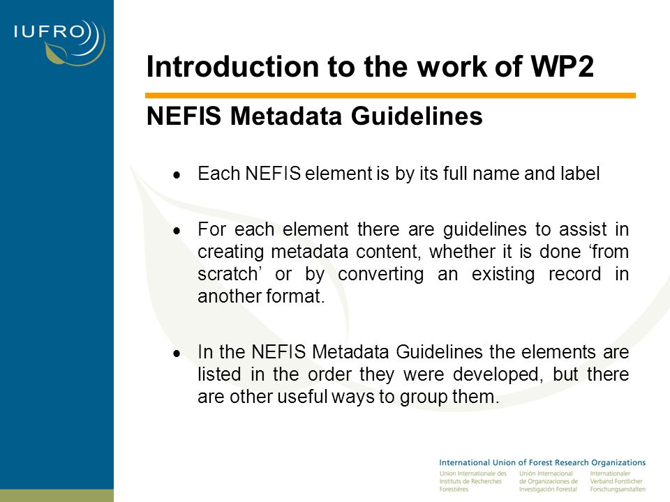 Introduction to the work of WP2 NEFIS Metadata Guidelines Title* Term Name: title Label: Title Refinements: Alternative Definition: A name given to the resource [by the Creator or Publisher].