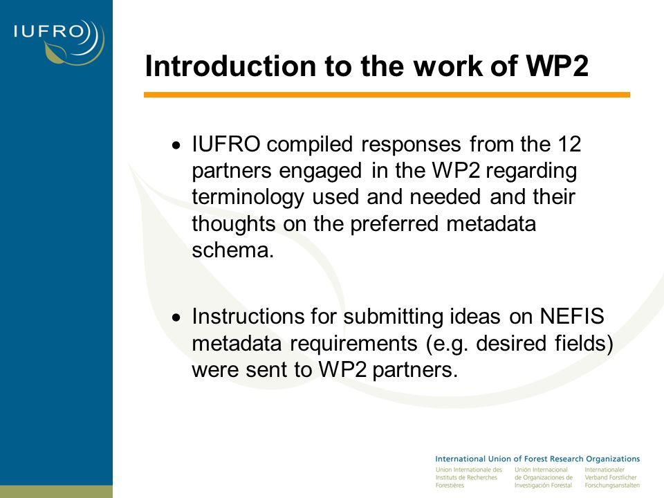 Introduction to the work of WP An iterative process of information compilation, publication of draft vocabulary and metadata schema, open review through electronic media, and final refinements, has lead to the draft vocabulary and metadata schema It was discovered during the input process that partners had different needs, understandings, and interpretations of metadata.
