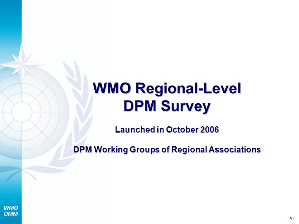 21 Regional-level DPM survey is being implemented by RA Working Group on DPM to address issues related to: i)Providing information on initiatives through various economic groupings and agencies to develop regional strategic plans for implementing the Hyogo Framework for Action (HFA) ii)Strengthening regional capacity s in disaster risk management iii)Identification and prioritization of hazards that pose the greatest risk resulting in a need for cross boundary / sub-regional / regional collaboration and cooperation iv)Understanding the current capacities and activities in the region in support of disaster risk management, and how these regional capacities and activities support these focus areas, including the projects underway through the working groups of the Regional Association v)Identification of gaps and needs and cross-boundary challenges for enhancing capacities in support of disaster risk management vi)Regional priorities with respect to addressing these gaps and needs vii)Identification of existing and potential future partnerships and concrete project areas of the regional association with other agencies involved in disaster risk reduction.
