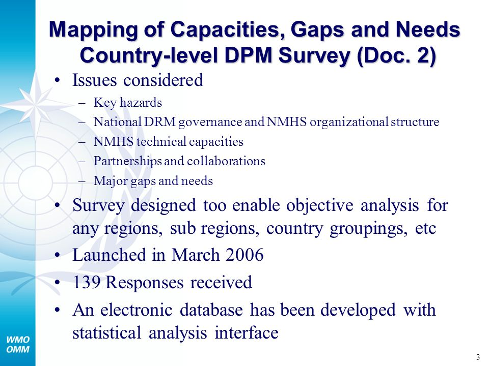 4 Preliminary results of the WMO country-level DPM survey Global