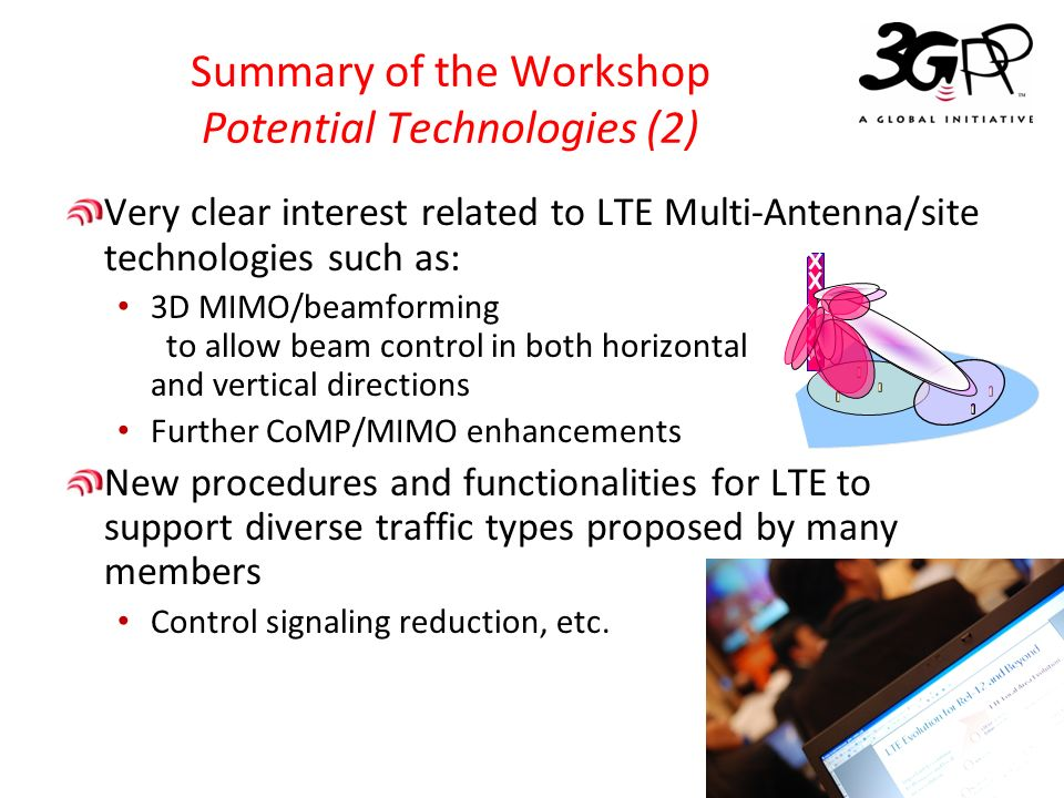 © 3GPP 2012 3GPP TSG-RAN Activities toward Further Enhancement for LTE/LTE-Advanced 19 Summary of the Workshop Potential Technologies (3) Good interest in: Interworking with WiFi Continuous enhancements for: Machine type communications(MTC) Self-organizing network(SON) Minimization of drive test(MDT) Advanced receiver Device to Device(D2D) Further enhancements for HSPA including interworking with LTE