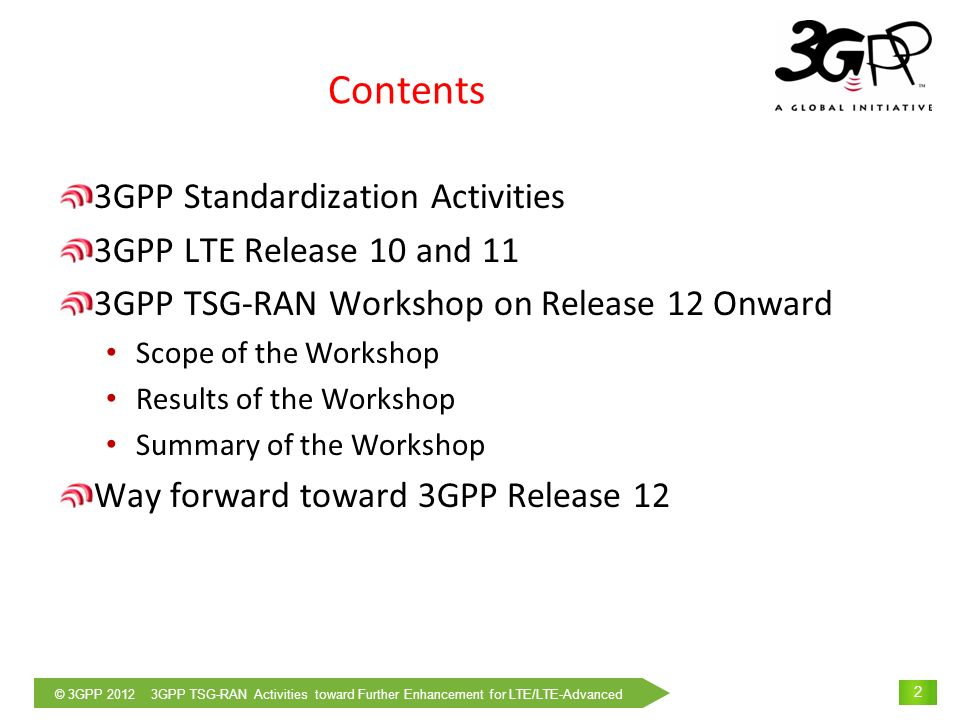 © 3GPP 2012 3GPP TSG-RAN Activities toward Further Enhancement for LTE/LTE-Advanced 3 3GPP Standardization Activities