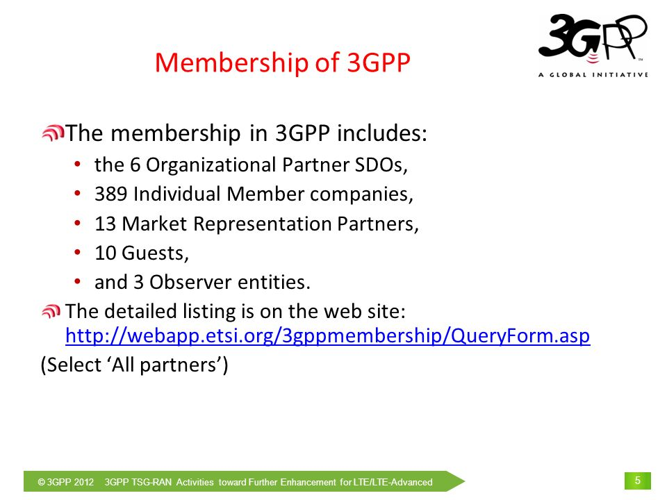 © 3GPP 2012 3GPP TSG-RAN Activities toward Further Enhancement for LTE/LTE-Advanced 6 Developing internet protocol specs ITU- R/T Developing Mobile application specs Organisational Partners Referring to 3GPP specs (contributed by individual members) Partners of 3GPP Referring to 3GPP specs for the local specs Referring to specs Cross reference of specs Developing Wireless LAN/MAN specs Requirements Input specs JapanEUKorea China North America MRP Developing Recommendations Terminal Certification Terminal certification based on 3GPP specs Cross reference of specs Standardisation Organisations Communicating with 3GPP