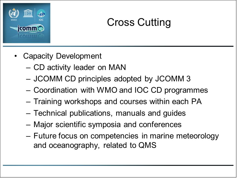 Ocean remote sensing: priorities Maintaining an updated set of requirements for ocean satellite data, especially non-climate requirements Support for the key ocean satellite missions Working with the Expert Team on Satellite Utilization and Products of the WMO CBS on the utilization of satellite data and products Facilitating the availability of ocean satellite data and products for developing countries Developing a pilot project on surface vector winds, cf GHRSST