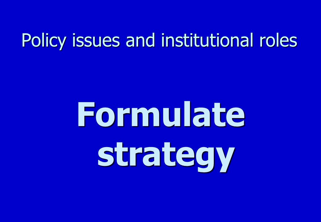 Policy issues and institutional roles Formulate general strategy Logic n To abide by resources and constrains: –political requirements –legal framework –economic constrains –existing management capacity