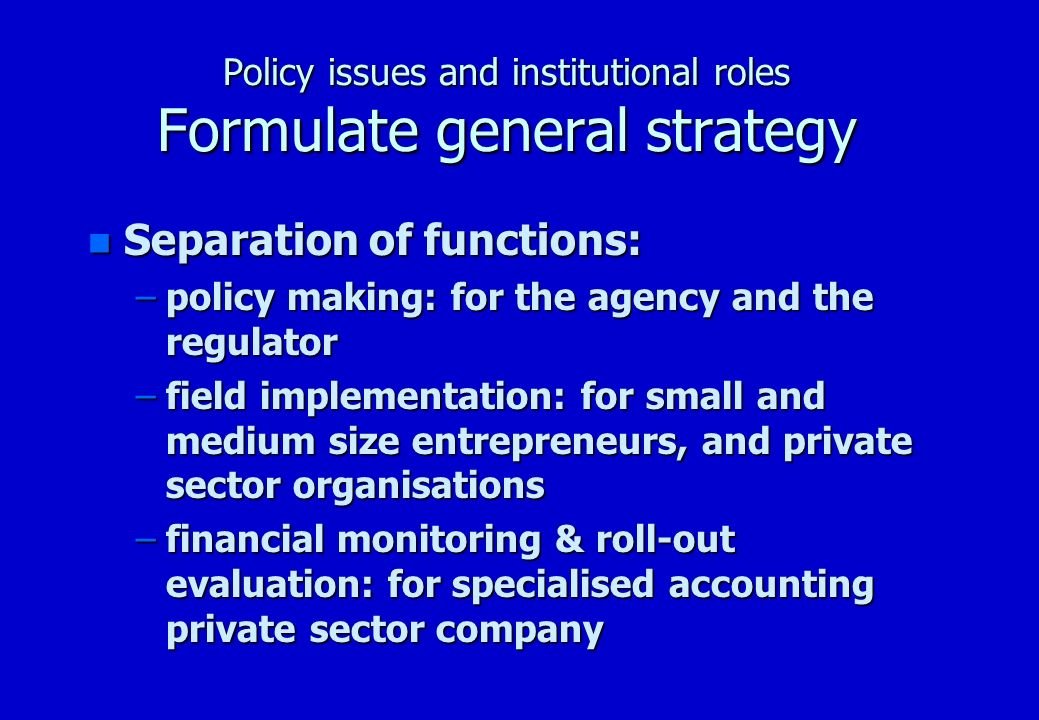 Policy issues and institutional roles Formulate general strategy n National programmes –National programme for telecentre value added services –National programme for ongoing national training –National programme for Rural Telephone Co-operatives (RTCs)