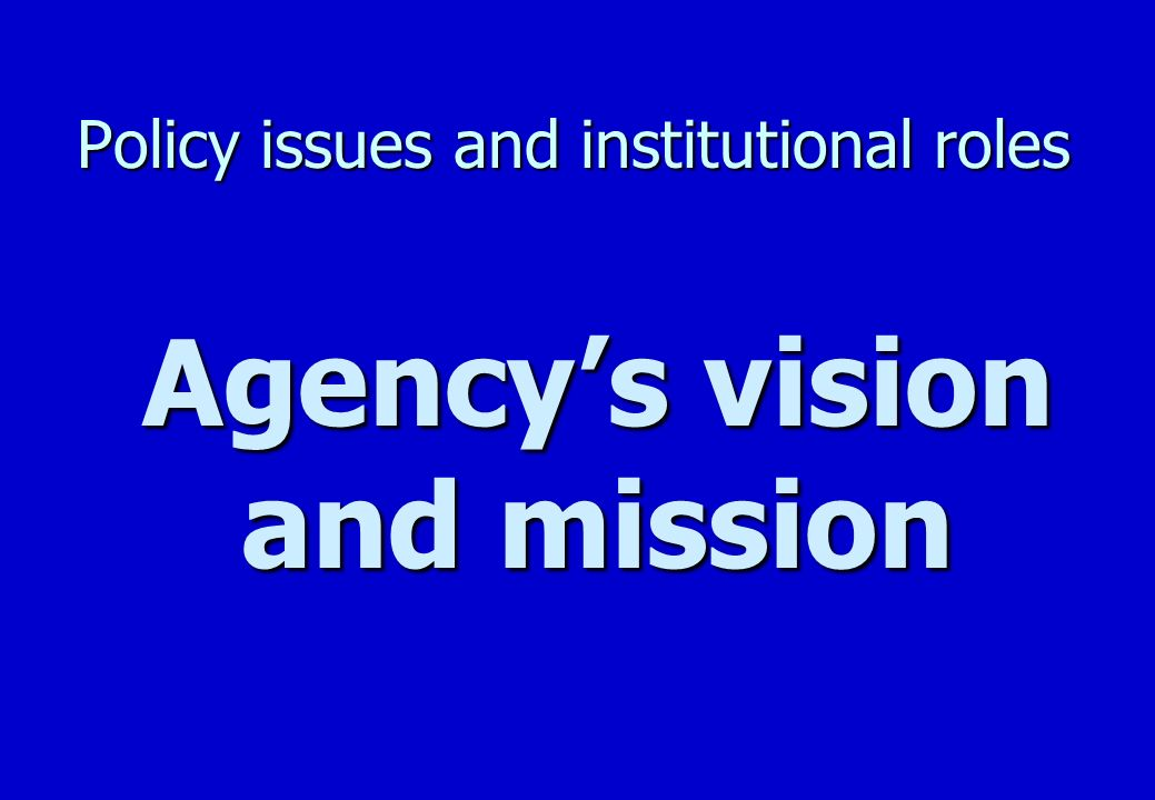 Policy issues and institutional roles Vision of the Univ.