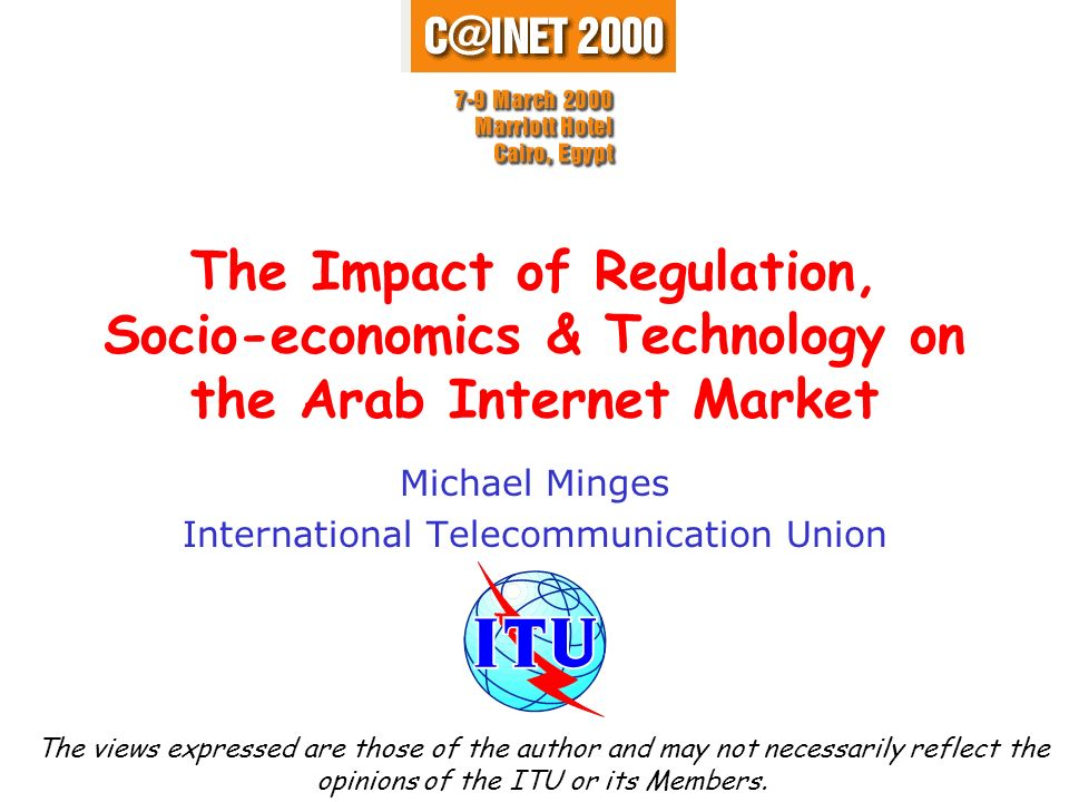 Internet in the Arab World Source: ITU adapted from DITnet.