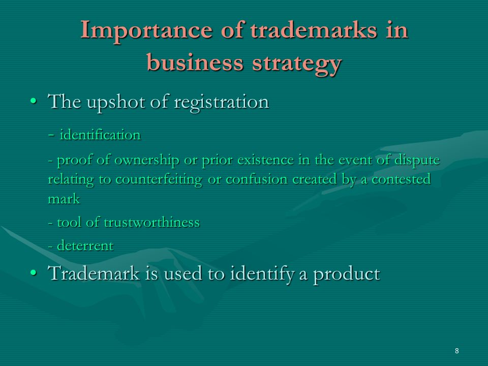 9 Importance (Contd) Trademark is used to identify a product or service; a certain quality and image in it.