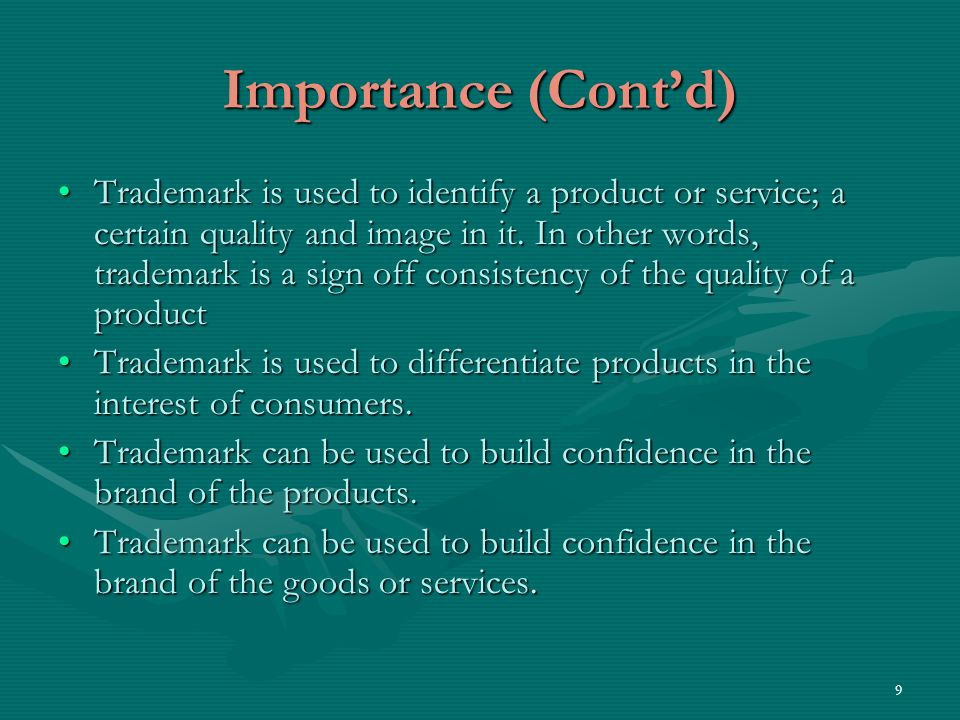 10 Importance (Contd) The concept of collective trademarks mentioned earlier, can be used, for example, by SMEs in OAPI region in their business strategy in two respectsThe concept of collective trademarks mentioned earlier, can be used, for example, by SMEs in OAPI region in their business strategy in two respects - cost effective management of registrations - lessen inferiority complex.