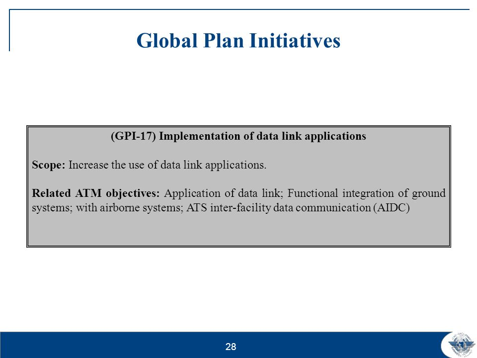 29 Global Plan Initiatives (GPI-18) aeronautical Information Scope: To make available in real-time, quality assured electronic information (aeronautical, terrain and obstacle).
